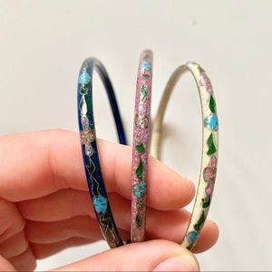 Jewelry - Vintage Floral Enamel Bangles ( SET OF 3)